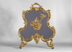 Antique Louis XV style firescreen in gilt bronze with birds and music instruments decoration (Reference - Available at Galerie Marc Maison Architectural Antiques, Architectural Elements, Flower Garlands, Flower Decorations, Dressing Screen, Fireplace Accessories, Curved Lines, Rare Antique, Classic Style