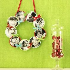 Colorful Christmas Crafts for Kids: Family Photo Wreath (via Parents.com) Mini-version=great home made gift ornament for family far away.