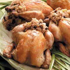 Christmas Eve Dinner Cornish Hens Stuffed with Rice
