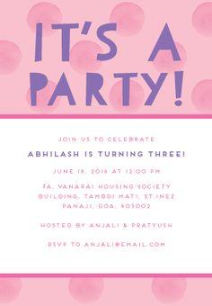 Kids birthday invitations float on over birthday invitations polka party pink custom kids birthday party invitations filmwisefo