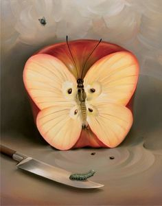 BUTTERFLY APPLE<br /> 13 x 9.5<br /> Edition: 325 by Vladimir Kush