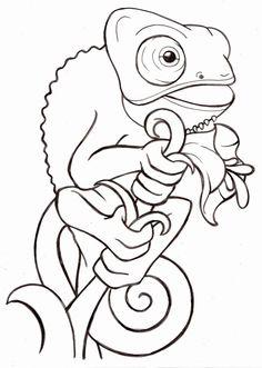 Coloring Cartoon Lizard Inspirational Cartoon Baby Veiled Chameleon Tattoo by Metacharis On Dragon Coloring Page, Horse Coloring Pages, Coloring Books, Animal Sketches Easy, Baby Animal Drawings, Outline Drawings, Cartoon Drawings, Cute Drawings, Cartoon Lizard