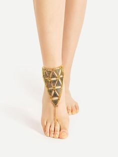 Triangle Design Chain Anklet With Toe Ring