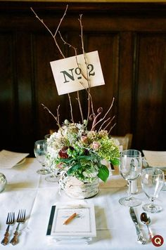 Birch tree wedding centerpiece - with your colors in the florals