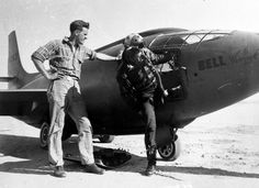 Chuck Yeager and the Bell X-1 in 1949. Chuck wears a interim flight helmet made from a US Army WW2 tank helmet and mated to a USAAF WW2 era flight helmet. This was part of the USAAF first generation of flight helmets. He has a A-13A oxygen mask on the helmet. He wears potentially what looks like WW2 flight boots from the RAF 1936 style?