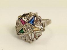Eastern Star Ring  Vintage Diamond and by EstateJewelryMama