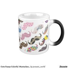 Cute Funny Colorful  Mustaches Pattern Magic Mug