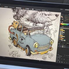 Illustration inspiration by Mossy Giant (@mossygiant) I love seeing work in progress, what tools people are using. Awesome work