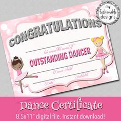 Dance Certificate Print Your Own Instant Download