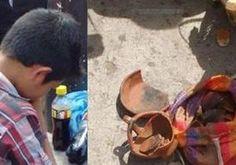 Niño vendedor lamenta los daños en su mercadería, en Chiquimula. (Foto Prensa Libre: Cortesía)