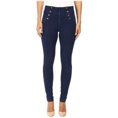 HUE High Waist Sailor Denim Leggings ($44) ❤ liked on Polyvore featuring pants, leggings, blue jeggings, denim leggings, faux-leather leggings, faux denim leggings and jean leggings