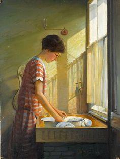 Washing Up, c.1924-25 by Walter Bonner Gash   High quality art prints   Bridgeman Art on Demand