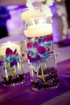 Wedding centerpieces: this is what I'm doing expect pink!!