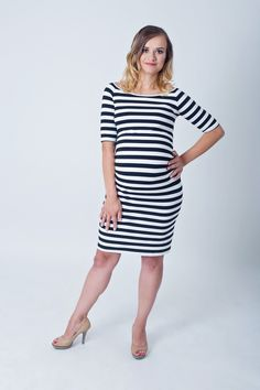 Bílé proužkované těhotenské šaty nad kolena Shirt Dress, T Shirt, Dresses, Fashion, Supreme T Shirt, Vestidos, Moda, Shirtdress, Tee Shirt