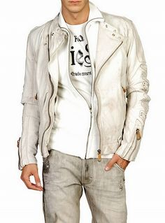 White leather Diesel Legat Leather Jacket