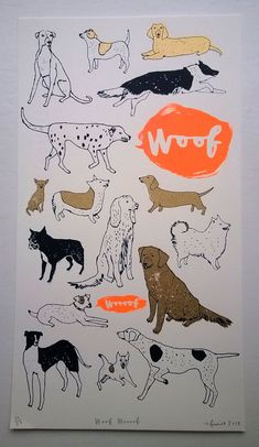 Woof Woooof hand made screen print in my etsy shop now  charlottefarmer1