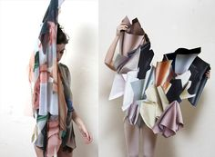 Stephanie Baechler    Stephanie Baechler is a textile artist based in the Netherlands. Her recent fabric project was inspired by curtains, pleats, plastic bags, fabrics spread on the floor, wrapped objects and creased blankets.
