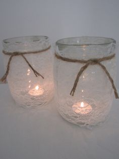 Hessian Lace Handmade Glass Jars - 1 Litre by BowsandSurprises on Etsy Glass Jars, Wine Glass, Hessian, Candle Holders, Candles, Canning, Tableware, Lace, Tin Cans