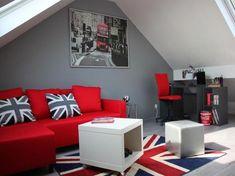 Chambre ado Gris Rouge Moderne   Chambre enfant   Pinterest ...