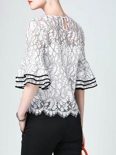 White Bell Sleeve H-line Lace Floral Guipure Blouse Blouse And Skirt, Blouse Outfit, Blouse Patterns, Blouse Designs, Simple Dresses, Short Dresses, Fancy Tops, Batik Dress, Work Tops