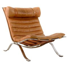 Brown Leather Ari Chair, by Arne Norell | 1stdibs.com