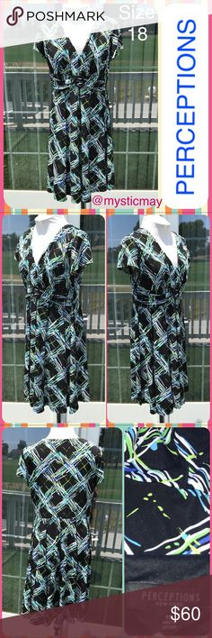 """Black Multicolor Abstract Print Career Dress Sz 18 Fit and Flare Midi Dress with a bold abstract print in white, sky blue, and lime green on a black background. V-neckline with cap sleeves and empire waist. Flared skirt with exposed seams. Polyester/spandex. Size 1X or 18. Measures 21"""" across the chest and 39"""" in length. Perceptions Dresses Midi"""