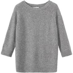 Toast Maxi Must Sweater ($158) ❤ liked on Polyvore featuring tops, sweaters, grey melange, gray top, grey sweater, merino sweater, raglan sleeve top and raglan top
