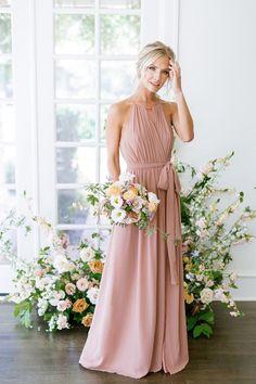 Model: Britt, Size: 4, Color: Desert Rose Pink Bridesmaid Dresses Long, Light Pink Bridesmaid Dresses, Blush Pink Bridesmaid Dresses, Wedding Dresses, Party Dresses, Brunei, Trinidad Und Tobago, Dusty Rose Dress, Chiffon