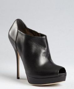 Gucci black leather 'Sofia' peep toe booties