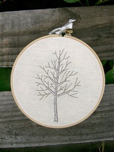 Embroidery idea: tree Silver Birch Tree Embroidery Wall Art by CandykinsCrafts on Etsy, $17.00