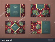 Vector Vintage Visiting Card Set. Floral Mandala Pattern And Ornaments. Oriental Design Layout. Islam, Arabic, Indian, Ottoman Motifs. Front Page And Back Page. - 379785589 : Shutterstock