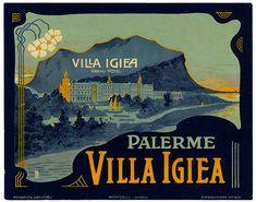 Vintage Italian Posters ~ #Italian #vintage #posters ~ Villa Igea Hotel Palermo Label