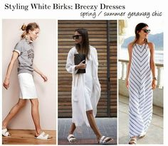 How To Style White Birkenstocks: Skirts + Dresses #bloggerstyle