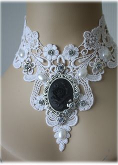 Gothic choker - Cameo Choker - Victorian Choker Supersize - real eyecatcher white black silver baroque ornate flowers rose. $49.90, via Etsy.