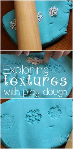Explore textures and design while playing with this beautiful snowflake play dough set.
