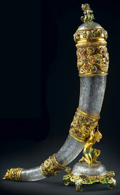 Rock crystal drinking horn and stand with bejeweled and enameled gold mounts - Vienna, 1872.More Viennese enamel here.