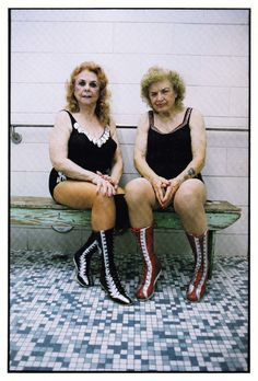 American professional wrestlers the Fabulous Moolah and Mae Young.  Both wrestled into their 70's.