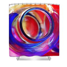 """Glass Abstract 592 Shower Curtain at http://fineartamerica.com/products/glass-abstract-592-sarah-loft-shower-curtain.html.    This shower curtain is made from 100% polyester fabric and includes 12 holes at the top of the curtain for simple hanging.  The total dimensions of the shower curtain are 71"""" wide x 74"""" tall."""