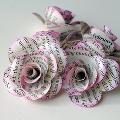 12 Handmade Paper ROSES from REPURPOSED BOOK by PapersAndPetals