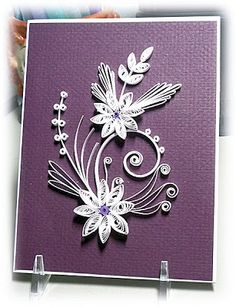 handmade greeting card from Bloomin' Paper . white quilling on deep purple textured paper . Neli Quilling, Paper Quilling Cards, Paper Quilling Flowers, Paper Quilling Patterns, Origami And Quilling, Quilled Paper Art, Quilling Craft, Quilling Supplies, Quilling Christmas