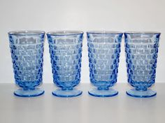 Vintage Blue Whitehall Glasses / Tumblers by Indiana Glass Company Circa 1960s.