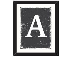 Industrial 'Any' Letter on Black, Handmade Print. Worn Aged Distressed Monogram. Personalised Large Initial. Black and White Wall Art