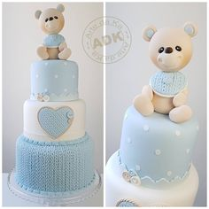 The video consists of 23 Christmas craft ideas. Baby Shower Sweets, Baby Shower Cakes For Boys, Baby Boy Cakes, Baby Boy Shower, Christening Cake Boy, Teddy Bear Cakes, Elegant Baby Shower, Cute Cakes, Beautiful Cakes