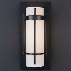 Hubbardton Forge 1 Light Banded with Bars Wall Sconce Finish: Black, Shade Color: Stone, Bulb Type: (1) 100W A-19 medium bulb