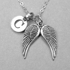 Personalized Angel Wings Necklace Wing by chrysdesignsjewelry