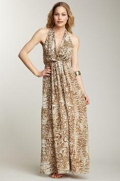 Lovers & Friends, Snake Skin Print Halter Dress