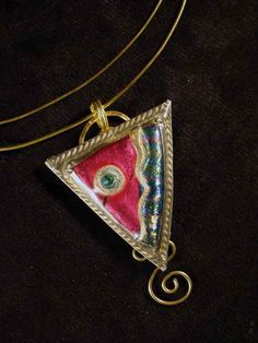 Triangle Brass and Friendly Plastic Pendant ~ Choose your favorite colors of moldable Friendly Plastic to create a unique triangle pendant set in brass. This project teaches you how to do an easy bezel setting around your plastic inset.    By: Linda Peterson for Amaco