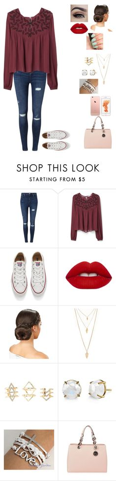 """""""Shopping"""" by gymnastics7 ❤ liked on Polyvore featuring Miss Selfridge, MANGO, Converse, Lime Crime, NARS Cosmetics, Forever 21, Charlotte Russe and MICHAEL Michael Kors"""