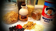 Steel Cut Oatmeal with Berries, Fruit, Nuts, Raisins, Brown Sugar, Maple Syrup, Honey
