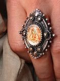 """our custom designed junk gypsy """"love guadalupe"""" design now on a silverplate filigree ring. one of our most popular designs..."""